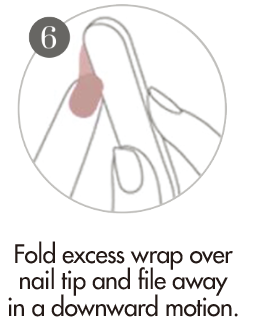 Nail Polish Sticker Application - Fold the nail wrap over nail tip and file away excess wrap in a downward motion.