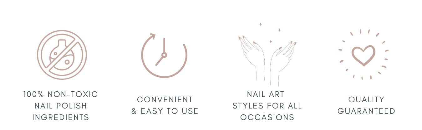 Our nail wraps are 100% non-toxic, made of real nail polish and lasts up to 10 -14days. Fuss-free application for DIY instant manicure anytime, anywhere. No dry time, no smell, no mess for DIY home manicure!