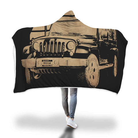 Jeep Sunset Hooded Blanket