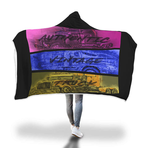 Tri Color Trucks Hooded Blanket