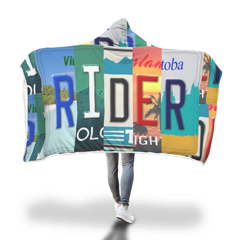 Rider License Plate Hooded Blanket