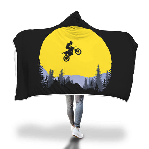 Riding Under The Moon Hooded Blanket