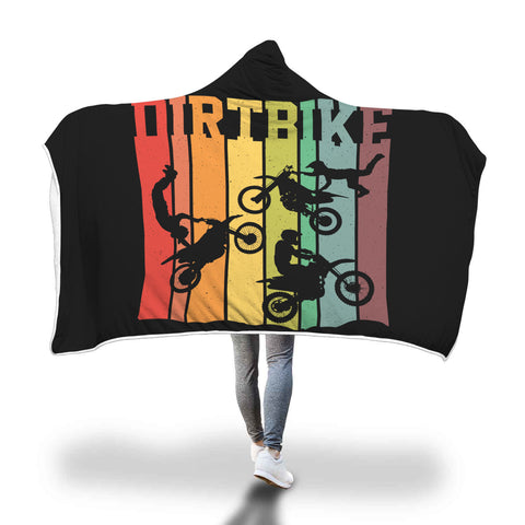 Dirt Bike Riders Retro Sunset Hooded Blanket