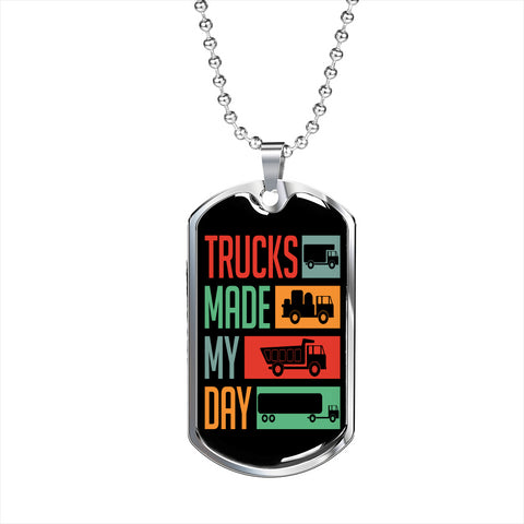Trucks Made My Day Personalized Gift Necklace Jewelry