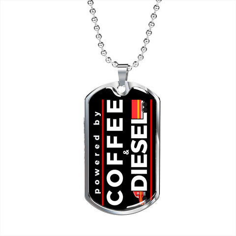 Powered by Coffee and Diesel Trucker Personalized Gift Necklace Jewelry