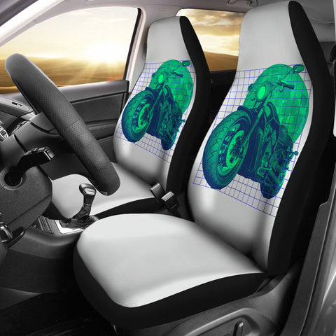 Motorbike Under The Moon Car Seat Covers