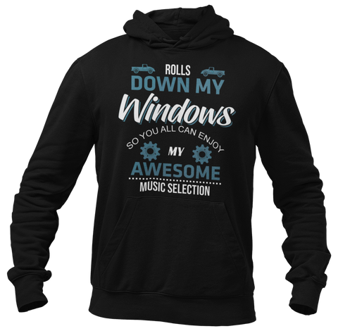Rolls Down Windows Blue Hoodie
