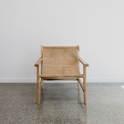 Tan Leather Sling Chair