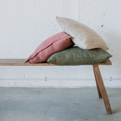 A textural cushion in a lovely muted clay colour, measuring 45cm x 45cm.  It comes complete with a soft inner