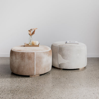 cowhide round ottoman coffee table corcovado furniture nz