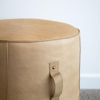 tan leather pouff ottoman nz furniture corcovado