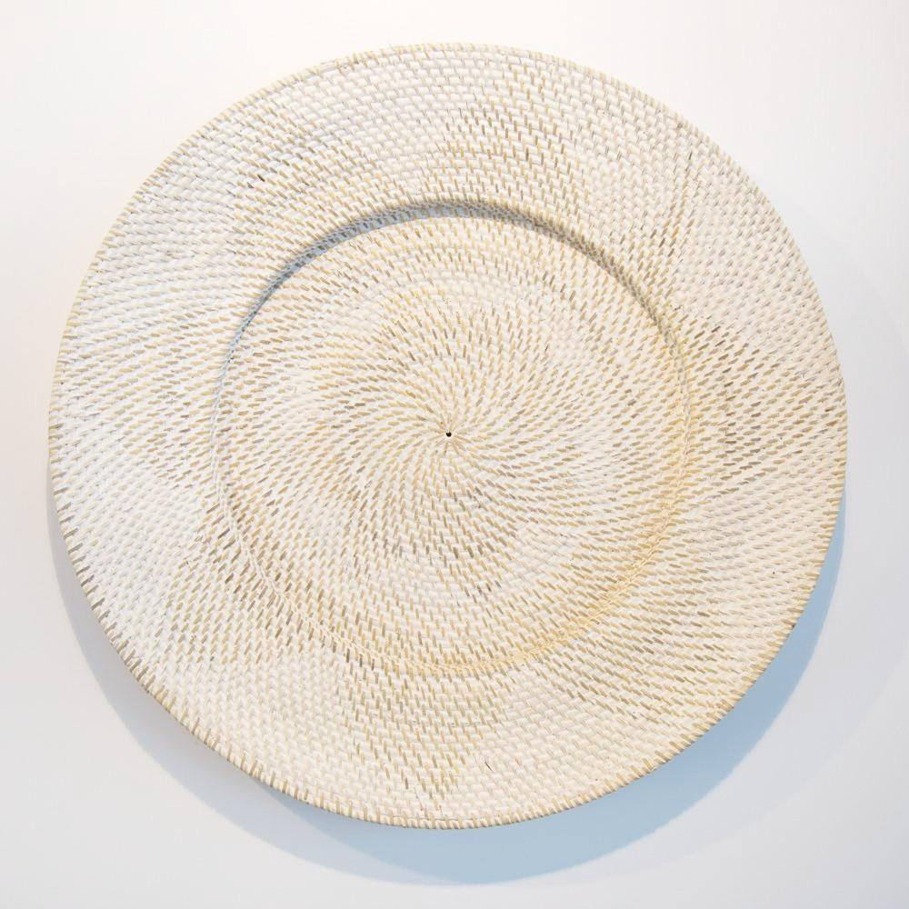 whitewash rattan wall tray art