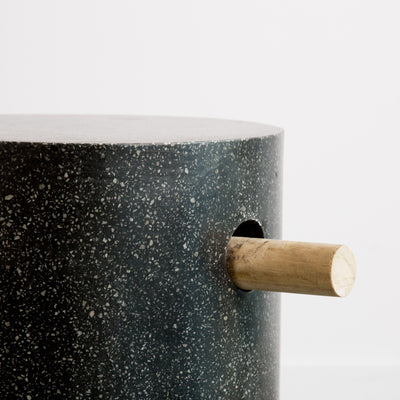 Black Terrazzo Side Table (Rounded Base)