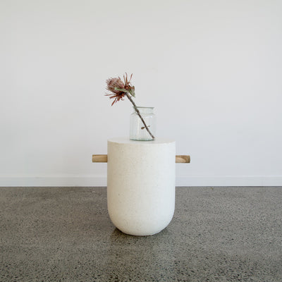 White Terrazzo Side Table (Rounded Base)