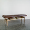 Dark Brown Leather Bench (L)