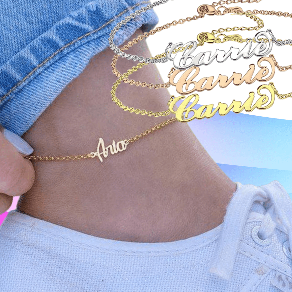 Anklet Personalized With Any Name, Custom Jewelry Designer