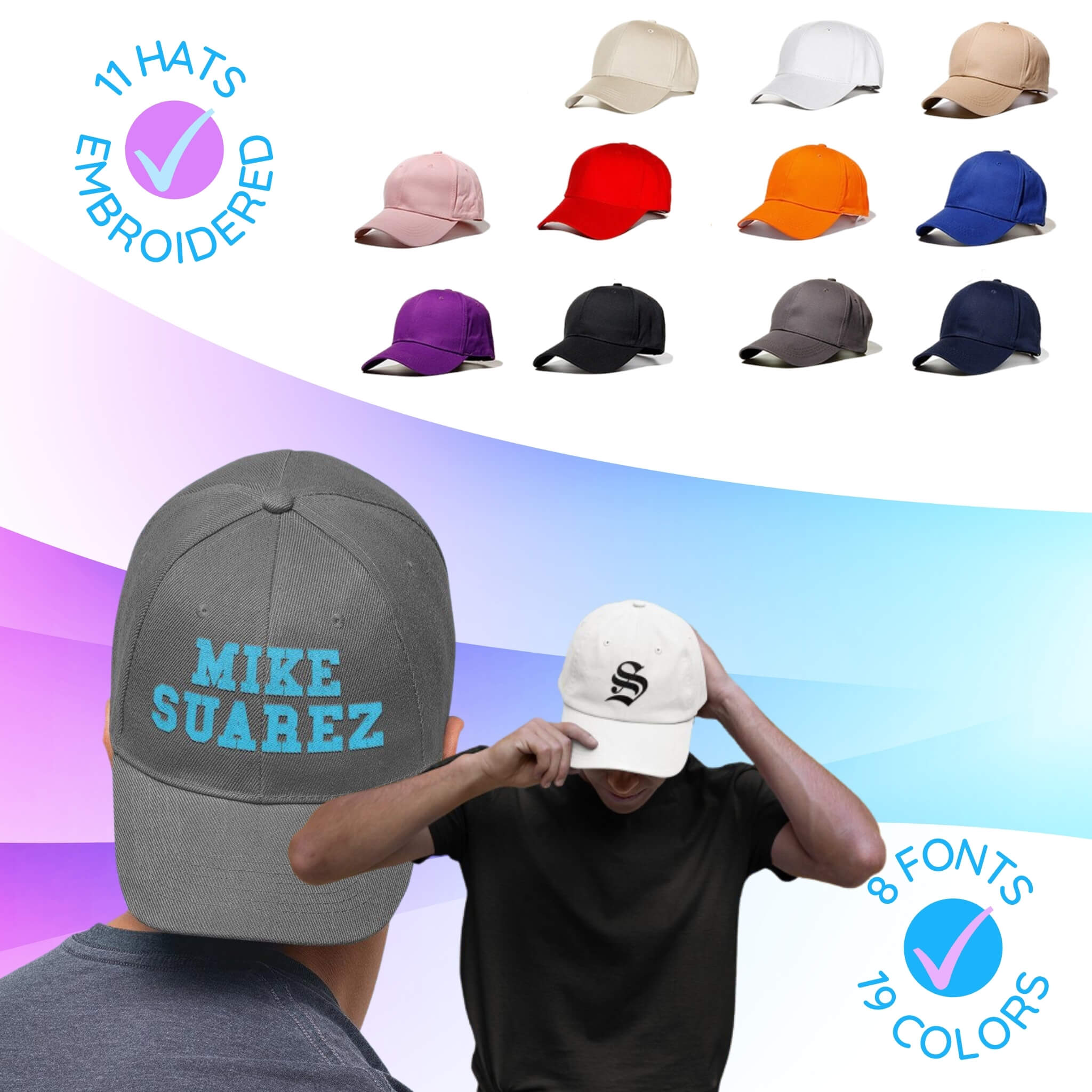 Custom Embroidered Baseball Hats. Design Your Own Personalized Hat