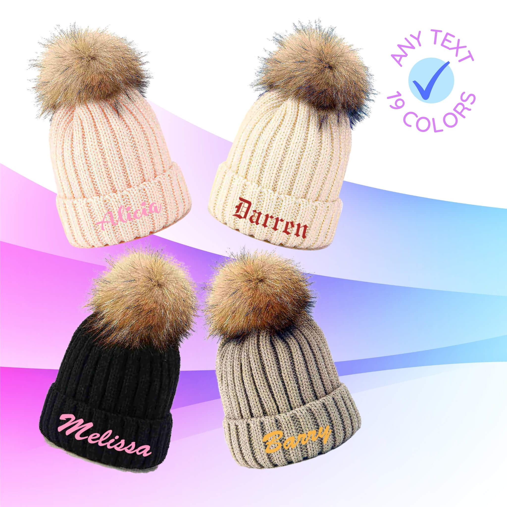 Embroidered Beanie Pompom Hat I Custom Winter Beanies I Design AirPods