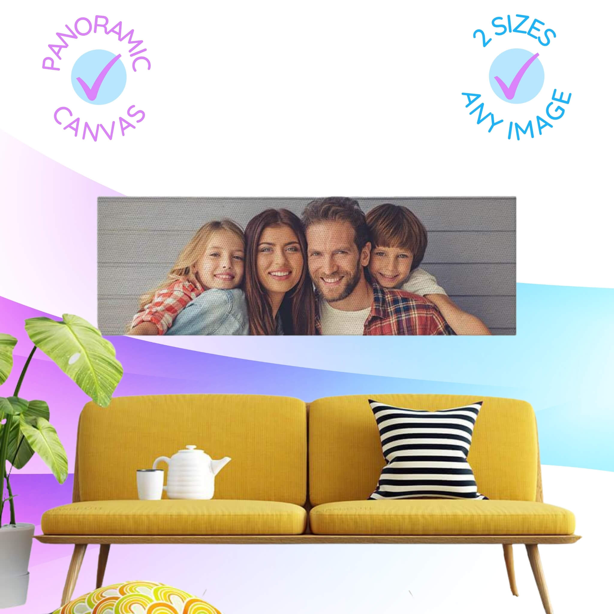 Design Your Own Panoramic Canvas Family Portrait Photo Prints