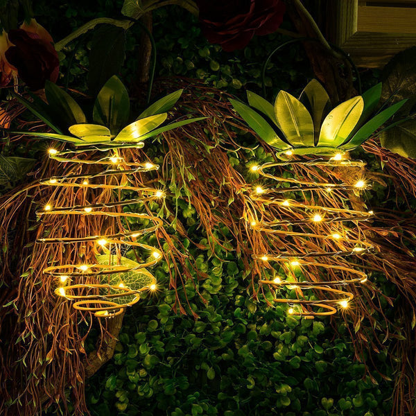 Garden Solar Wrought Iron Pineapple Lamp Led Copper Portable Hanging Lamp