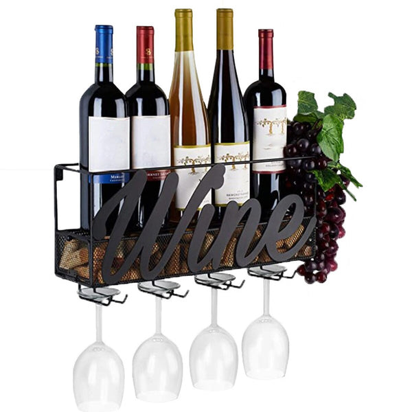 Kitchen Storage Built-in Wine Glass Holders Metal Wall Mounted Wine Rack