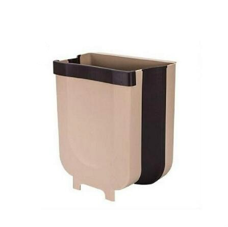 Kitchen Folding Waste Bin Trash Wall Mounted Trashcan Storage 9L