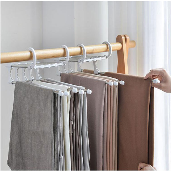 Home Adjustable 5 in 1 Pants Hangers Multi-Layer Magic Hanger Space Saving Organizer