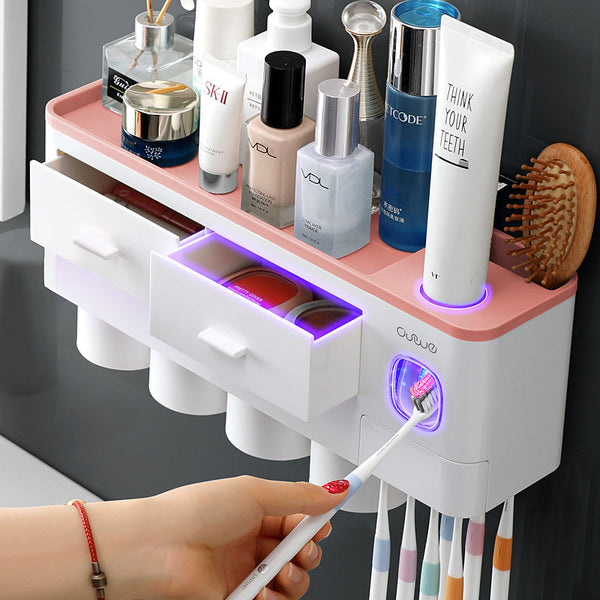 Bathroom Organizer Toothbrush Automatic Toothpaste Dispenser Holder Set