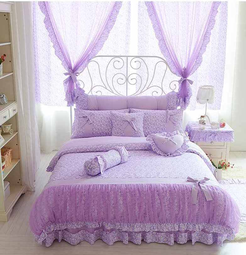 Bedding Sets King Queen Size Bow Design Quilt Cover Ruffles 4 Pcs
