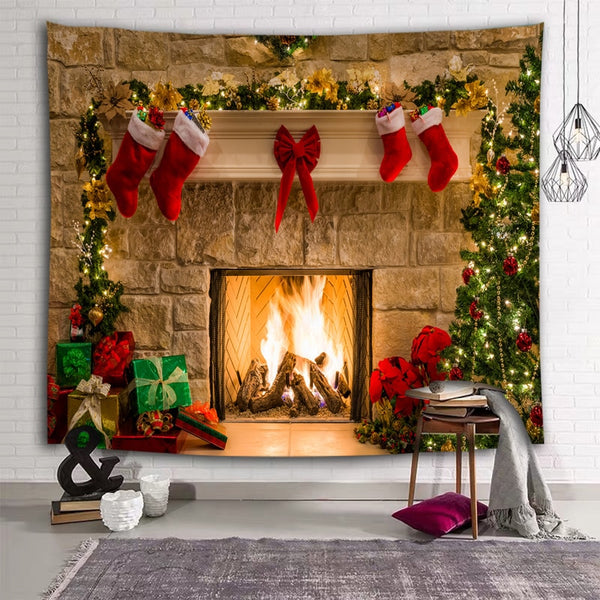 Christmas Tree Fireplace Print Tapestry Wall Art Hanging Home Decor