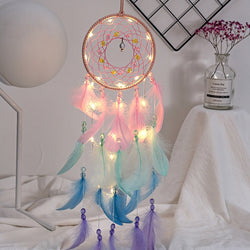 Home Decor Colorful True Feather Dream Catcher Lights Up Creative Gift