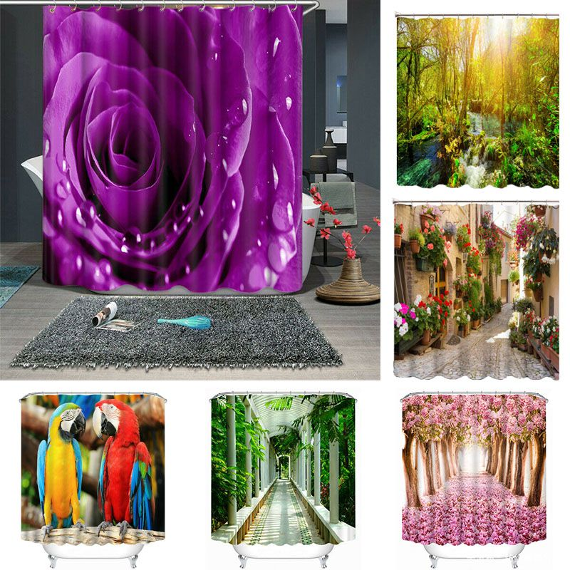 DIY Printed 3D Colorful Street Shower Curtains Bathroom Curtain With 12 Hooks