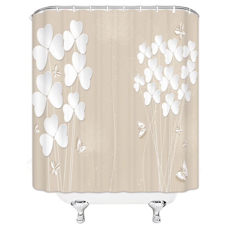 Bathroom Flower Scenery Shower Curtains Landscape Polyester Curtain Set