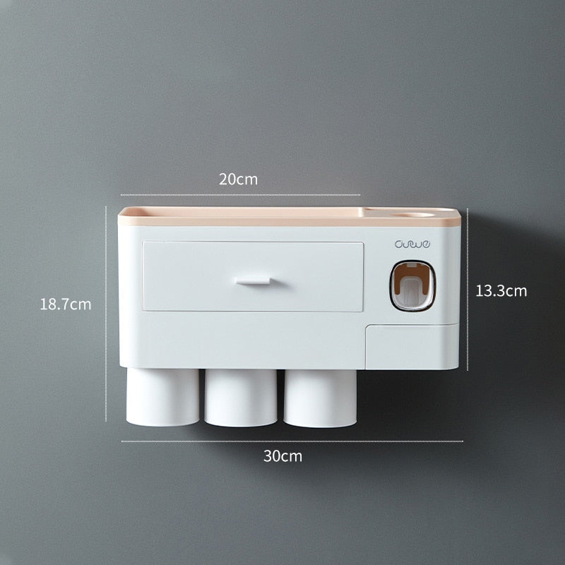 Bathroom Magnetic Adsorption Toothbrush Holder Automatic Toothpaste Dispenser