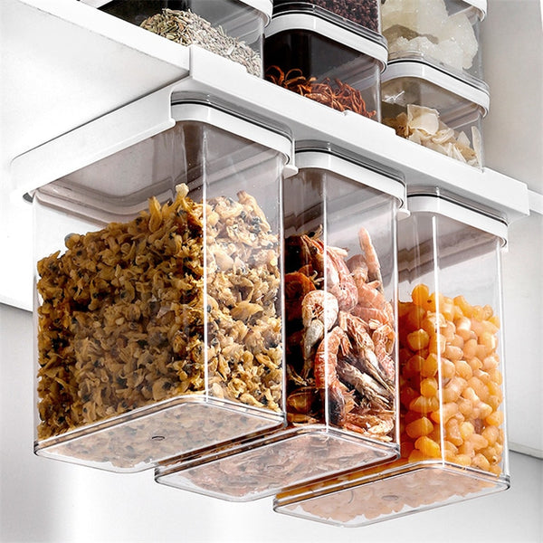 Kitchen Grains Storage Box with Shelf Wall Mounted Container Plastic Cereals