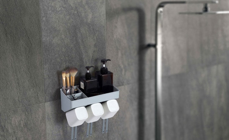 Toothbrush Holder Large Capacity Wall Mounted Toiletries Storage Rack with Cups Bathroom Bath Storage