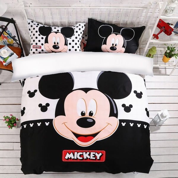 Bedroom Bedding Set Disney Mickey Mouse Cute Duvet Cover Pillowcases Full Queen King Size