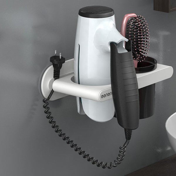 Multi-function Bathroom Hair Dryer Holder Wall Mounted Rack Space Bath Storage Organizer - honeylives