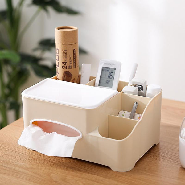 Home Plastic Tissue Box Desktop Storage Office Stationery Organizer Boxes