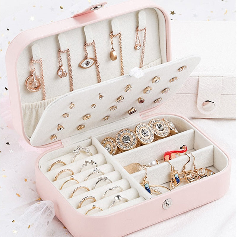 Bathroom Leather Jewelry Storage Box Earrings Ring Necklace Organizer