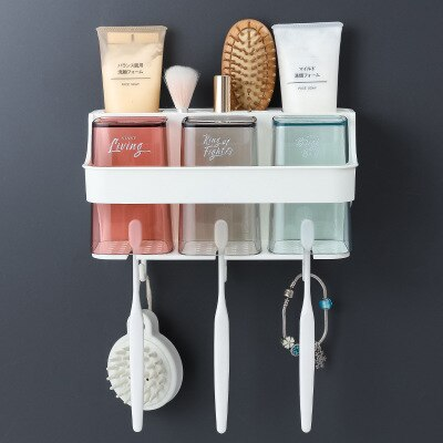 Bathroom Wall-mounted Storage Toothbrush Holder Wash Cup Set