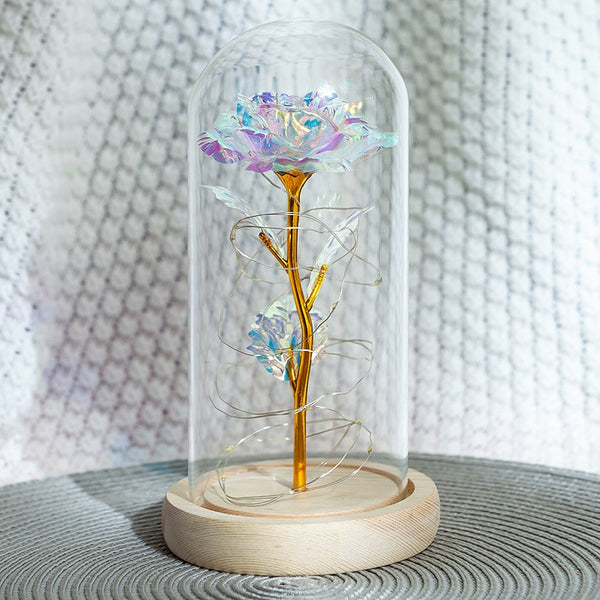 Romantic Eternal Light Rose Flower Glass Cover Beauty and Beast LED Battery Lamp