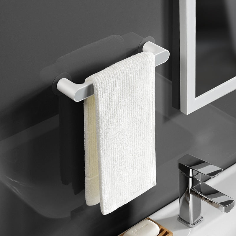 Bathroom Storage Rack Wall Mounted Towel Self-adhesive Hanger