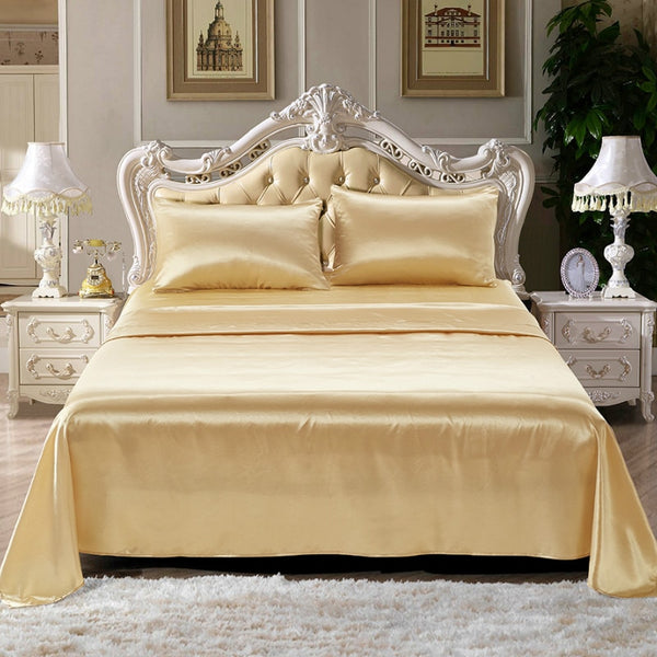 Bedding Silk Sheets Satin Luxury Mattress Cover King Size Bedsheet Soft Fitted