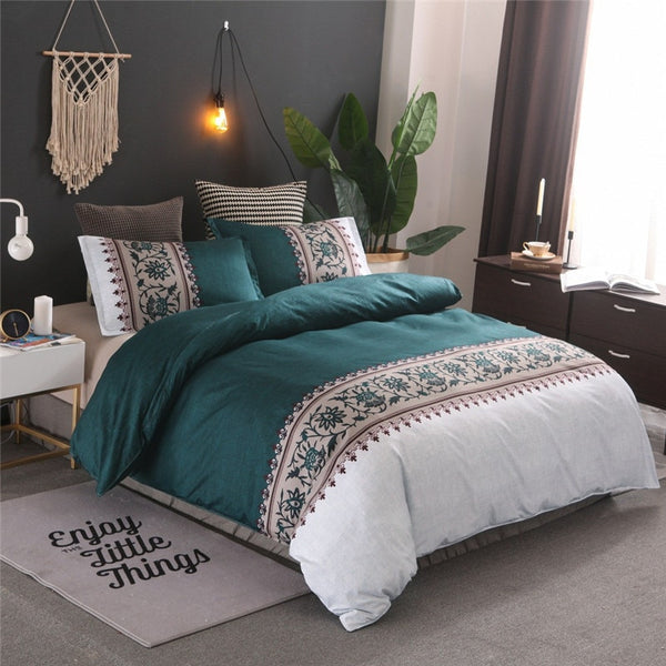 Bedding Set Simple Luxury Jacquard Printed Linen Duvet Quilt Covers 3 Pcs