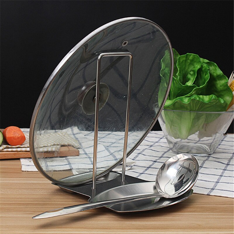 Kitchen Storage Stainless Pan Pot Cover Lid Rack Stand Spoon Holder Stove Organizer