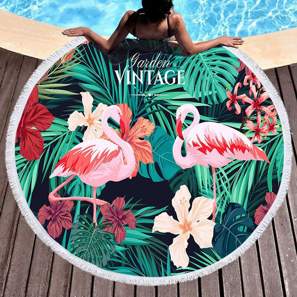 Bathroom Large Round Beach Towel Circle Microfiber Tassels Beach Towels
