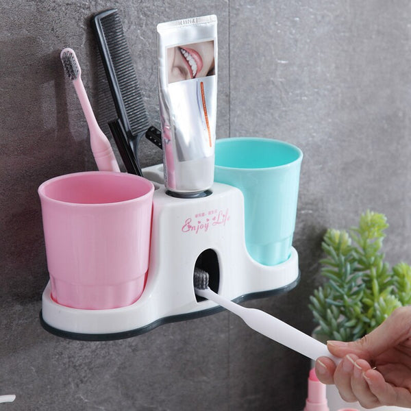 Bathroom Storage Toothbrush Holders Automatic Toothpaste with 2 Gargle Cups