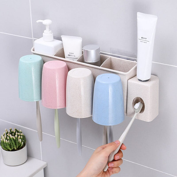 Bathroom Storage Toothpaste Holders Mouth Cup Set Multi-function Rack