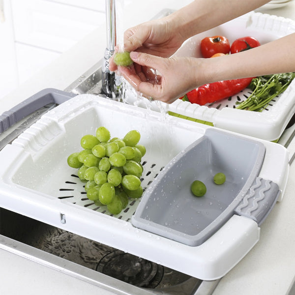 Kitchen Cook Vegetable Meat Chopping Board Blocks Sinks Drain Basket